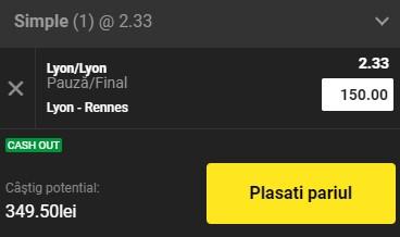 Pontul zilei din 3 martie 2021. Ne dublăm banii cu un super pariu pe Lyon - Rennes