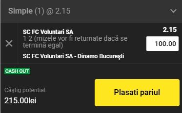 Ponturi pariuri FC Voluntari - Dinamo, 8 martie 2021. Cota profitabilă: 2,15