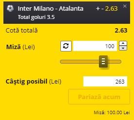 Pontul zilei din 8 martie 2021. Facem bani frumoși pe super meciul Inter - Atalanta