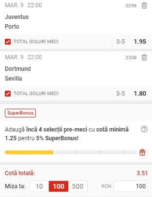 Bilet Liga Campionilor: Pariem pe goluri la Juventus - Porto și Dortmund - Sevilla