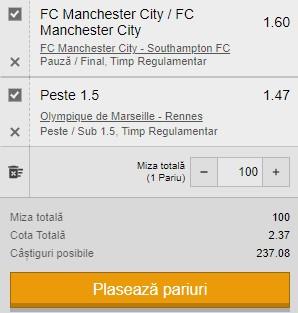 Biletul zilei din 10 martie 2021. Ne dublăm banii din Premier League și Ligue 1