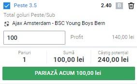 Pontul zilei din 11 martie 2021. Pariu de cotă 2,40 la Ajax - Young Boys