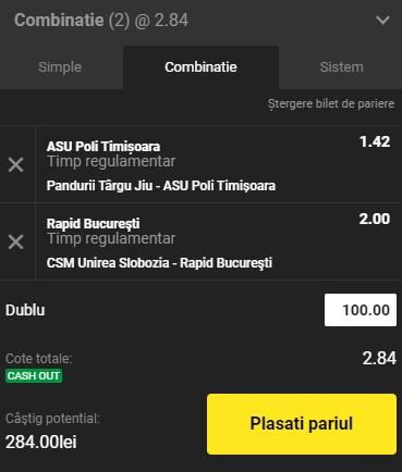 Bilet Liga 2, etapa 19. Cotă 2,84 pe ASU Poli Timișoara și Rapid