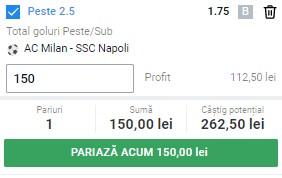 Ponturi pariuri AC Milan - Napoli, 14 martie 2021. Selecția profitabilă are cota 1,75
