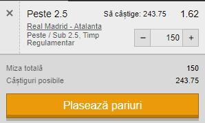 Ponturi pariuri Real Madrid - Atalanta, 16 martie 2021. Golurile ne aduc profit