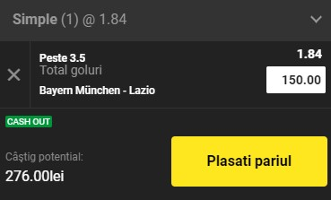 Pontul zilei din 17 martie 2021. Pariem pentru profit pe Bayern - Lazio