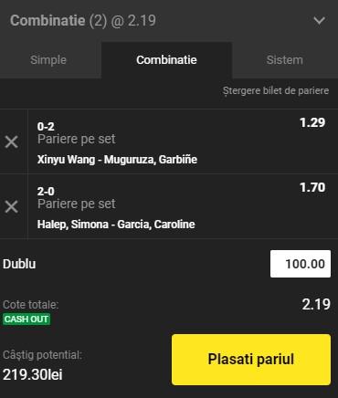 Bilet tenis 25 martie 2021. Facem profit pe meciul Simonei Halep