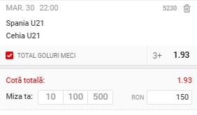 Ponturi pariuri Spania U21 - Cehia U21, 30 martie 2021. Cota profitabilă: 1,93