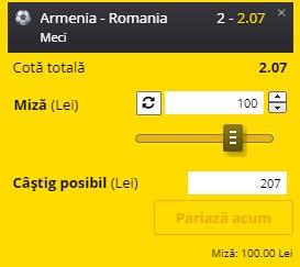 Ponturi pariuri Armenia - Romania, 31 martie 2021. Cota profitabilă: 2,07