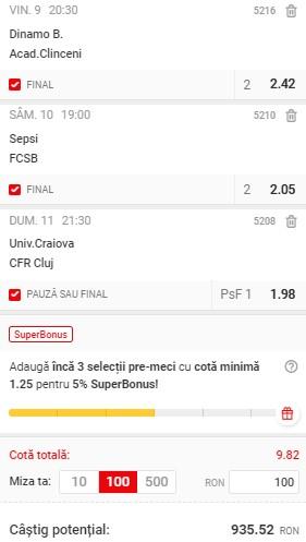 Biletul Liga 1 se pariză în cotă 9,82. Dinamo, FCSB, și derby-ul CFR Cluj - Craiova ne pot aduce un super profit