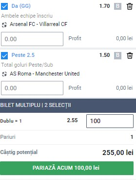Bilet Europa League 6 mai 2021. Arsenal - Villarreal și AS Roma Manchester United se pariază în cotă 2,55