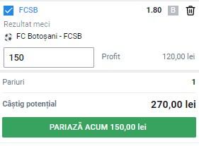 Ponturi pariuri FC Botoșani - FCSB, 6 mai 2021. Cota profitabilă: 1,80