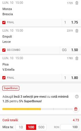 Bilet Serie B: cotă 4,73 pe trei meciuri. Facem profit frumos pe ultima etapă