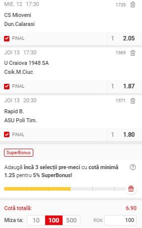 Bilet Liga 2 Play-off, etapa 8. Mioveni, Rapid și U Craiova 1948 ne aduc un super profit