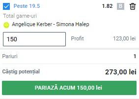 Bilet tenis, 12 mai 2021. Facem profit pe duelul Angelique Kerber – Simona Halep