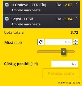 Bilet Liga 1 Play-off, etapa 8. CFR, Craiova, Sepsi și FCSB sunt obligate să câștige
