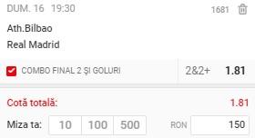 Ponturi pariuri Bilbao - Real Madrid, 16 mai 2021. Cota profitabilă: 1,81