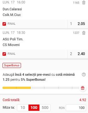 Bilet Liga 2 Play-off, etapa 9. Dunărea Călărași - Csikszereda și ASU Poli - CS Mioveni se pariază în cotă 4,92