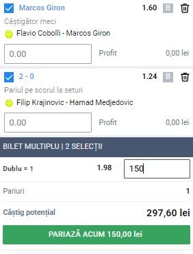 Bilet tenis 23 mai 2021. Profit de la Parma și Belgrad 2