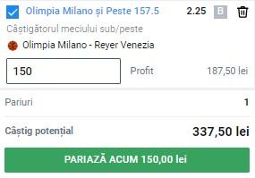 Bilet baschet 24 mai 2021. Play-off-ul din Italia ne aduce un câștig de 337 de lei