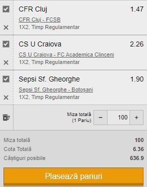 Bilet Liga 1 Play-off, etapa 10. Pariem pe CFR Cluj, CS U Craiova și Sepsi pentru 600 de lei câștig