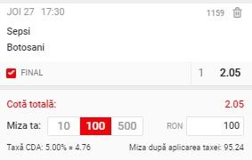 Ponturi pariuri Sepsi - FC Botoșani, 27 mai 2021. Cota profitabilă: 2,05