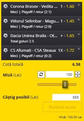 Baraje Liga 3: cotă excelentă la Afumați - Steaua. Câștig de 650 de lei