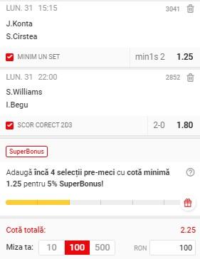 Bilet tenis din 31 mai 2021. Pariu în cotă 2,25 de la Roland Garros: Mizăm pe duelurile Soranei Cîrstea și Irinei Begu