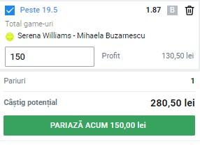 Bilet tenis 2 iunie 2021. Pariu de la Roland Garros: cotă 1,87 la Williams - Buzărnescu