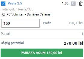 Ponturi pariuri Voluntari - Dunărea Călărași, 3 mai 2021. Cota profitabilă: 1,80