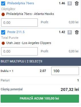 Bilet baschet 8 iunie 2021. Facem bani pe două meciuri din NBA
