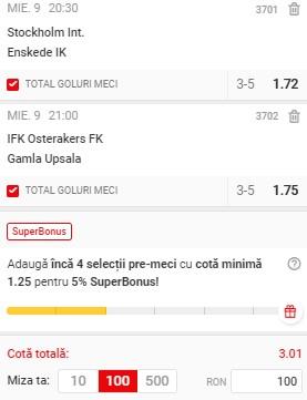 Biletul pe goluri din 9 iunie 2021. Două meciuri din Suedia ne aduc profit