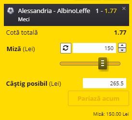 Pontul zilei din 9 iunie 2021. Cota profitabilă vine de la Alessandria - AlbinoLeffe