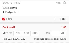 Bilet tenis 12 iunie 2021. Pont de la finala feminină Roland Garros: cotă 1,80 la Krejcikova - Pavlyuchenkova