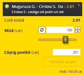 Bilet tenis 15 iunie 2021. Pariem pe cotă 2,01 la Garbine Muguruza - Sorana Cîrstea