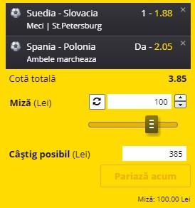 EURO 2020. Bilet Grupa E, etapa 2. Suedia - Slovacia și Spania - Polonia, un combo de cotă 3,85