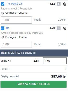 Bilet EURO 2020 Grupa F, etapa 3. Germania - Ungaria și Portugalia - Franța, un combo de 380 de lei câștig