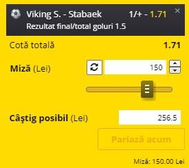 Pontul zilei din 30 iunie 2021. Facem profit pe meciul Viking - Stabæk