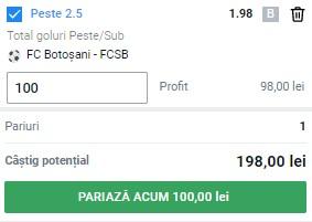 Ponturi pariuri FC Botoșani – FCSB, 15 iulie 2021. Cota profitabilă: 1,98