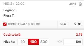 Ponturi pariuri Legia - Flora, 21 iulie 2021. Profit din Liga Campionilor