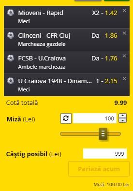 Bilet Liga 1, etapa a doua. Pariuri în cotă 9,99 pe Rapid, FCSB, CFR Cluj și pe cele două rivale din Craiova