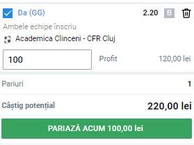 Ponturi pariuri Academica - CFR Cluj, 24 iulie 2021. Cota profitabilă: 2,20