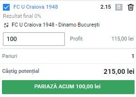 Ponturi pariuri FC U Craiova - Dinamo, 26 iulie 2021. Cota profitabilă: 2,15