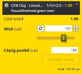 Ponturi pariuri CFR Cluj - Lincoln, 28 iulie 2021. Cota profitabilă: 1,89