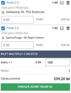 Biletul pe goluri din 28 iulie 2021. Profit pe Galatasaray - PSV și Sparta Praga - Rapid Viena