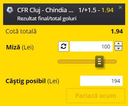 Ponturi pariuri CFR Cluj - Chindia (31 iulie 2021).