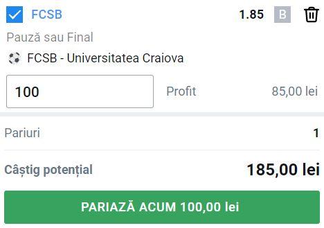Ponturi pariuri FCSB - Universitatea Craiova (25 iulie 2021).