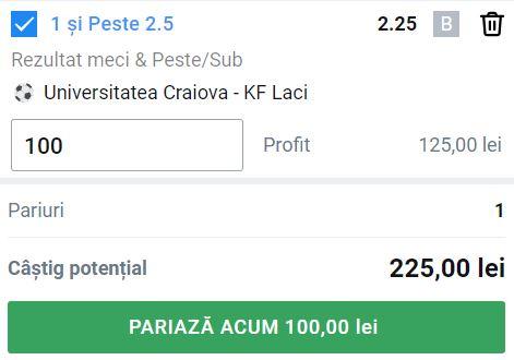 Ponturi pariuri Universitatea Craiova - FK Laci (29 iulie 2021)
