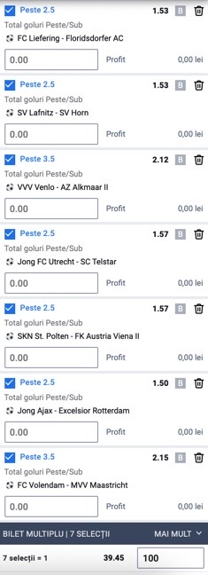 Biletul pe goluri din 27 august 2021. Facem profit cu meciuri din Austria 2 și Olanda 2