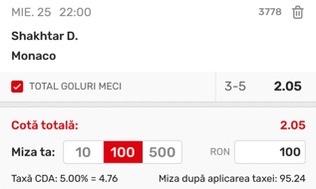 Ponturi pariuri Șahtior Donețk - Monaco, 25 august 2021. Cota profitabilă: 2,05
